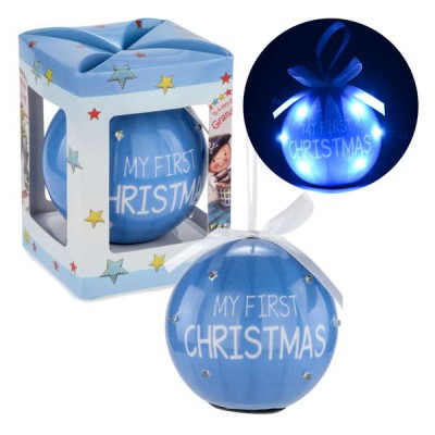 Ornement boule Bleu illuminé : My First Christmas